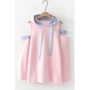 Lovely Pink Patchwork Plaid Cold Shoulder Long Sleeve Loose Hooded