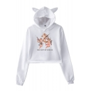 Hot Popular Letter Cartoon Angel Baby Printed Cat Ear Long Sleeve Pullover Cropped Hoodie
