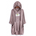Womens Half Sleeve Flower Printed Casual Loose Longline Hoodie With Pockets