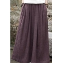 Womens Hot Popular Plain Mid Waist Plain Wide Leg Loose Pants