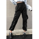 New Trendy Mid Elastic Waist Contrast Piping Elastic Ankle Detail Pockets Loose Pants
