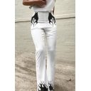 Womens New Fashion High Waist Flame Print White Boot Cut Pants