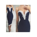 Womens New Summer V-Neck Sleeveless White Floral Lace Print Slit Cami Bodycon Midi Dress