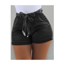 Womens Hot Fashion Plain Tied Waist Slim Fitted Denim Shorts