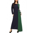 Womens New Fashion Round Neck Long Sleeve Bow-Tied Waist Panelled A-Line Asymmetrical Maxi Dress