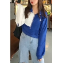 SKN Letter Printed Zipper Front Stand Up Collar Color Block Long Sleeve Cropped Sweatshirt