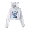 Lovely Cartoon Cat Ear Long Sleeve STITCH Letter Pattern Cropped Hoodie