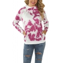 New Fashion Tie-Dyed Zippered Side Long Sleeve Pullover Hoodie