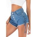 Summer Hot Popular Lace Up Side Eyelet Embellished Button Front Raw Hem Slim Fitted Stretch Denim Shorts