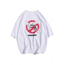 Summer Mens Hot Stylish Half Sleeve Round Neck Mosquito Printed Casual Loose Cotton T-Shirt