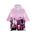 Popular Kpop Boy Band Cartoon Figure Print NOT TODAY Short Sleeve Hooded Loose T-Shirt