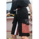 Summer Cool Hip Hop Style Drawstring Waist Pocket Side Colorblock Patch Letter Printed Cargo Shorts