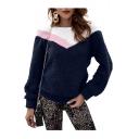 Womens Hot Fashion Long Sleeve Colorblock Pullover Fluffy Fleece Sweatshirt