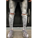 Men's Popular Fashion Paint Point Printed Cool Knee Cut Zippered Cuffs Grey Skinny Biker Jeans with Holes