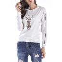 Hot Popular Long Sleeve Round Neck Striped Side Antler Geometric Printed Straight Sweatshirt
