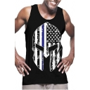 Mens Sleeveless Round Neck Flag Warrior Printed Fashion Muscle Tank Tee