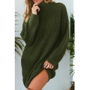 Womens Trendy Long Sleeve Plain Loose Fit Knit Tunic Sweater