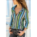 Trendy Long Sleeve Lapel Collar Striped Printed Button Down Lady Leisure Shirt