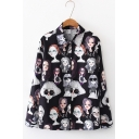 Chic Long Sleeve Cartoon Figure Printed Button Down Vintage Loose Shirt