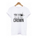 New Arrival White Rolled Sleeve CROWN Letter Spider Printed Simple Loose T Shirt