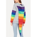 Cool Unique Long Sleeve Rainbow Striped Patch Casual Loose Hoodie