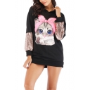 Popular Cool Black Sequin Patch Long Sleeve Cute Cartoon Bow Cat Printed Straight Pullover Longline Hoodie