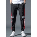 Men's Trendy Colorblock Stripe Side Letter Printed Drawstring Waist Quick-drying Track Pants