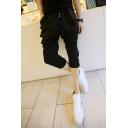 Men's Trendy Simple Plain Rivet Embellished Black Casual Cropped Pleated Harem Pants