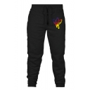 Men's New Fashion Logo Printed Drawstring Waist Stylish Casual Sports Sweatpants