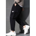Men's New Fashion Splashing Ink Printed Black Trendy Cargo Pants with Side Pockets