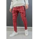 Men's New Fashion Stripe Plaid Pattern Zipped Pocket Drawstring Waist Casual Slim Pencil Pants