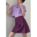 Summer Purple Elegant High Waist Mini A-Line Pleated Skirt for Women