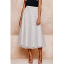Summer High Waist Polka Dot Printed Midi Flared A-Line Chiffon Skirt