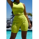 Trendy Sleeveless Tank Cropped Tee with Elastic Waist Bermuda Shorts Green Two Piece Set