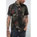 Summer Popular Black Short Sleeve Floral Printed Leisure Shirt