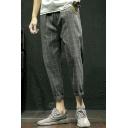 Popular Fashion Plaid Pattern Drawstring Waist Men's Trendy Casual Tapered Pants