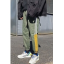 Guys New Fashion Colorblock Stripe Side Elastic Cuffs Loose Fit Leisure Track Pants