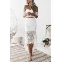 Summer Trendy Off Shoulder Bandeau Top with High Waist Midi Skirt Sheer Lace Two Piece Set