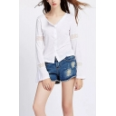 Women's Fashionable Lace-Trimmed Long Sleeve V-Neck Loose Fit Linen White Button Blouse