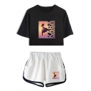Trendy Cool Letter Figure Pattern Short Sleeve Cropped Tee with Loose Fit Dolphin Shorts Two-Piece Set