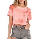 Summer Hot Popular Short Sleeve Round Neck Tie Dye Loose Cropped Tee