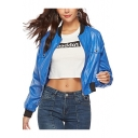 Womens Cool Blue Stand Collar Long Sleeve Zip Up Short PU Jacket
