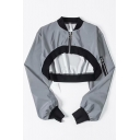 Womens Cool Street Style Grey Stand Collar Long Sleeve Zip Up Crop Jacket