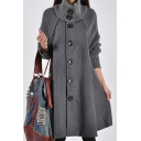 Women's New Trendy Plain High Neck Long Sleeve Button Down Longline Wool Cape Coat
