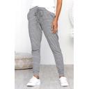 Womens Trendy Grey Stripe Printed Drawstring Waist Slim Fit Casual Pants Trousers