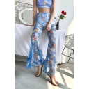 Summer Womens Hot Popular Blue Angel Baby Printed Elastic Waist Slim Fit Flared Pants
