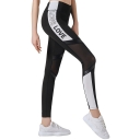 Simple Letter LOVE Print Side Mesh Patched Black Fitness Sport Yoga Leggings Pants