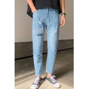 Men's New Stylish Letter Printed Light Blue Frayed Ripped Jeans