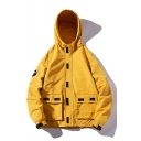 New Stylish Letter SPEED LIMIT Print Long Sleeve Hooded Zip Up Cargo Jacket for Men
