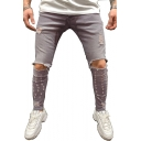 Men's Hot Fashion Cool Knee Cut Light Grey Distressed Ripped Skinny Jeans